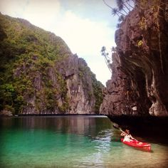 Taking a #kayak through the crystal #blue #waters of the Big #Lagoon in #Palawan.