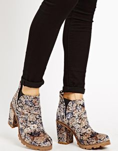 Zany!  I think they're brocade, but can't tell. -ASOS Chelsea ankle boots