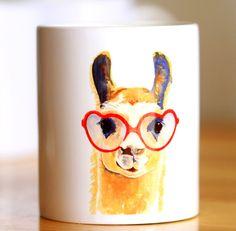 Watercolor Llama Coffee Cup