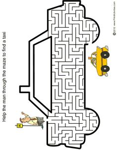 The car maze of a man hailing a taxi is a fun printable maze for kids. English Worksheets For Kindergarten, Preschool Worksheets, Kindergarten Activities, Maze Worksheet, Pattern Worksheet, Mazes For Kids Printable, Visual Perceptual Activities, Maze Puzzles, Paper Games