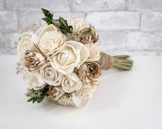 Wood Flower Bouquet, Rustic Bouquet, Fall Wedding Bouquets, Diy Bouquet, Flower Bouquet Wedding, Wood Flowers, Shot Bouquet, Champagne Wedding Flowers, Neutral Wedding Flowers