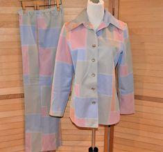 Vintage Closet, Vintage Butterfly, Pattern Blocks, Flare Pants, Vintage Colors, Suits For Women, Elastic Waist, 1970s, Trends