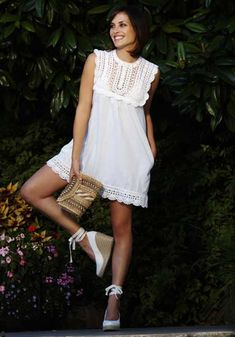 Baby doll dress with lacy crochet yoke and hem trim by Anna Kosturova