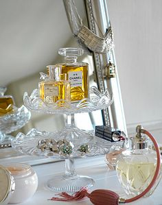cake stands on vanity. love this idea
