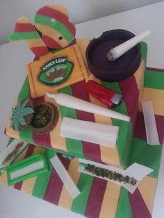 Marijuana weed pot spliff ganja cake toppers