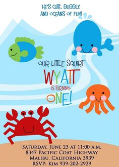 UNDER THE SEA Party Invitation with photo. Fish, Crab, Whale and Octopus