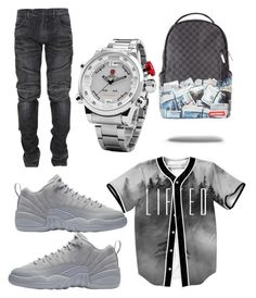 """Release"" by jovankins ❤ liked on Polyvore featuring Balmain, Shark, men's fashion and menswear"