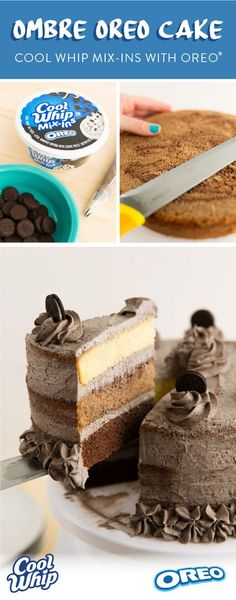 Impress your guests with this awesome Ombre Oreo® cake - made with NEW COOL WHIP mix-ins with Oreo®️️ biscuits! Impress your guests with this awesome Ombre Oreo® cake - made with NEW COOL WHIP mix-ins with Oreo®️️ biscuits! Oreo Cake Recipes, Baking Recipes, Dessert Recipes, Oreo Recipe, Just Desserts, Delicious Desserts, Yummy Food, Yummy Treats, Sweet Treats