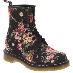 Dr. Martens Women's 1460 Victorian Flowers Boot ($130) ❤ liked on Polyvore featuring shoes, boots, zapatos, botas, black, black laced boots, punk rock boots, dr martens boots, black floral boots and rubber sole boots