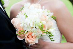 Peach & White Roses, White Freesias & White Dendro Orchids
