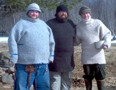 Needlebound / nalbound sweaters (and hats), by Brad Mattson. Posted in April, 2015, in Nålbinding facebook group. Each took about 180 hours (blue?), 160 hours (black one) and 150 hours (tan one) to make! More details on how he made them here, where he explains he started from the bottom and worked upwards and how he went about things from there: https://www.facebook.com/groups/644499622267562/permalink/906835306033991/