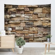 Stones Brick Wall Print Hanging Art Tapestry