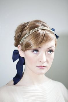 Silver and Navy Vintage Headband by annamainsdesigns on Etsy.