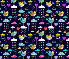 lovebirds - navy fabric by mirabelleprint on Spoonflower - custom fabric