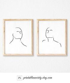 Stylish Printable Art/Line Art Set of 2 Prints/Head Print/Faces Wall Art/Minimalist Art Minimaliste, Art Nouveau, Sketches Of People, Black And White Sketches, Art En Ligne, Mid Century Modern Art, Art Moderne, Stationery Paper, Modern Art Prints