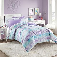 Add a fashionable flair to your bedroom with the eye-catching Layla Comforter Set. Decked out in a tie-dye pattern in lively shades of purple, turquoise and white, the bright and bold bedding is a whimsical addition to any room's decor. Bedroom Colors, Bedroom Sets, Bedroom Decor, Girls Bedroom Purple, Master Bedroom, Master Suite, Lilac Bedroom, Warm Bedroom, Bedroom Furniture