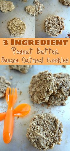 3 Ingredient Peanut Butter Banana Oatmeal Cookies {Baby Led Weaning Recipes} #babyledweaning #baking #healthyrecipes #healthydesserts #sweets #glutenfree #dairyfree #veganrecipes #sugarfree #healthysnacks