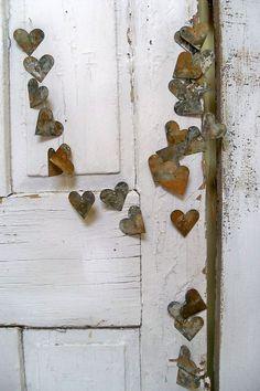 Coeur rouillé détresse guirlande metal commode par AnitaSperoDesign