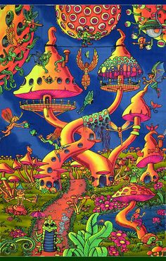 """Pixie Party "" psychedelic fluorescent backdrop print on fabric. Original artwork, each piece is first hand printed using silkscreen & then hand-colored by our team of highly talented Balinese batik artists. Psychedelic Art, Psychedelic Fashion, Disney Art Drawings, Trippy Drawings, Trippy Painting, Trippy Wallpaper, Stoner Art, Psy Art, Mushroom Art"