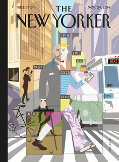 """The New Yorker - Monday, November 24, 2014 - Issue # 4571 - Vol. 90 - N° 37 - « The Tech Issue » - Cover """"Time Warp"""" by Richard McGuire"""