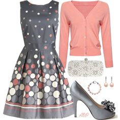 Cute polka dot dress and peach sweater