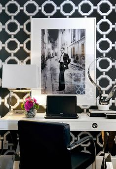 black office chic french chic design love wallpaper tile marble white parisian shabby chic interior design modern natural light gorgeous inspiration