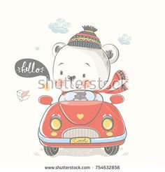 Bear in car.hand drawn vector illustration.can be used for kid's or baby's shirt design,fashion print design,fashion graphic,t-shirt,kids wear