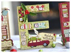 SVG Cuts Word MERRY advent calendar using Echo Park Season's Greetings