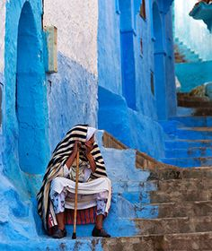 World's most colourful cities: Morocco's azure haven, Chefchaouen, a city high in Morocco's Rif Mountains known for its labyrinthine medina bathed entirely in shades of blue. Morocco Chefchaouen, Beautiful Streets, Beautiful Places, Beautiful Beautiful, Amazing Places, Blue City, Morocco Travel, North Africa, Travel And Leisure