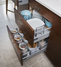 Interior fittings keep drawers from getting cluttered.