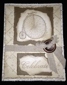 Feeling Sentimental - Distressed background using the Simply Scored, paper tearing, Twill and Bronze buttons