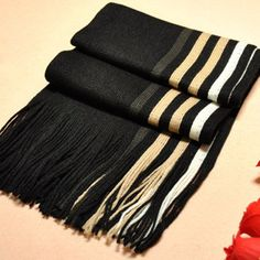 Men Knitted Unilateral Striped Knit Scarf