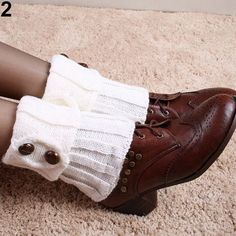 Women Winter Short Leg Warmers Fashion Button Crochet Knit Boot Socks Toppers Cuffs Retail/Wholesale 5K2W
