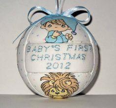 Precious Moments, Baby Boy's First Christmas Ornament.  Kimekomi Style. $13.00  on Etsy.com.