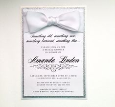 White and Silver invitations with large bow and rhinestones - click the image to check them out in my store!