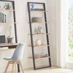 Theophanes 2 Tone Leaning Bookcase by Mercury Row Leaning Bookshelf, Ladder Bookshelf, Leaning Ladder, Modern Bookshelf, Ladder Shelf Decor, Diy Furniture, Furniture Design, Bookshelf Makeover, Oak Shelves