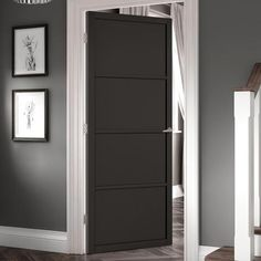 Soho 4 Panel Black Primed Door, a fantastic door at a great price, for those wanting something unique and different. Craftsman Interior Doors, Black Interior Doors, Exterior Doors, Contemporary Internal Doors, Contemporary Interior, The Doors, Panel Doors, Primed Doors, Crittall
