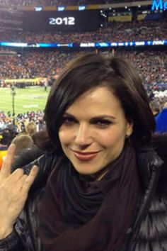 Lana Parrilla at the Super Bowl <3 #evilregals