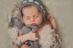 Ravelry: Traditional Vintage Baby Bonnet pattern by Crochet by Jennifer.  Bunny pattern by Sweet Potato 3.
