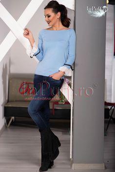 Bluza bleu cu volanase din voal la maneca