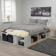 Diy Storage Bed, Bed Frame With Storage, Diy Bed Frame, Storage Spaces, Diy Queen Bed Frame, Queen Beds With Storage, Ikea Bedroom Storage, Double Bed With Storage, Bed Frame Design