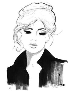 Watercolor and Pencil Fashion Illustration print, Jessica Durrant - Pretty Parisian No. 2 print//