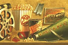 Home theater decorating wouldn't be complete without a concession stand that is accented with fun movie themes. Movie Theater Wedding, Movie Theater Rooms, Theatre, Movie Reels, Best Home Theater, Cup Coaster, Movie Themes, About Time Movie, Movie Collection