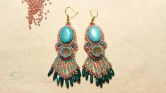 Beaded earringsmade by Alexandra Reiner Etsy shop Chest of Beads Beaded Earrings, Drop Earrings, Etsy Shop, Turquoise, Beads, Shopping, Jewelry, Fashion, Beading