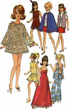 Barbie Doll Clothes PATTERN Simplicity 8466 Bell Bottom pants Open Back Blouse