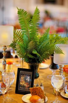 Fern Centerpiece with Postcard Table Numbers    Chicago History Museum. Steve Koo Photography. Sweetchic Events. EP2.