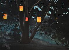 Dawn | acrylics on canvas | from a photo of a walnut tree at a summer-garden-party | only lit by the paper lanterns ___________Abenddämmerung | Acryl auf Leinwand | 70x90 | nach einem Foto von einem Gartenfest im Sommer. War top