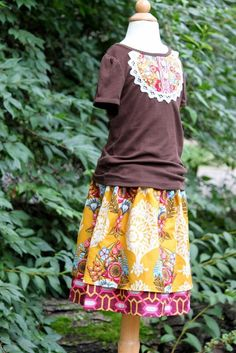 Fall Ruby Twirl Skirt and Shirt Set, Size 5T, Ready to ship by The Cottage Mama
