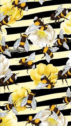 Flowery Wallpaper, Pastel Wallpaper, Cool Wallpaper, Iphone Wallpaper, Pattern Art, Pattern Design, Bee Illustration, Photocollage, Insect Art