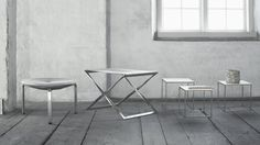 PK33 in canvas along with PK91 and PK71 tables by Poul Kjærholm.